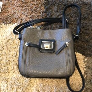 Mini Rosetti purse - gray with black straps
